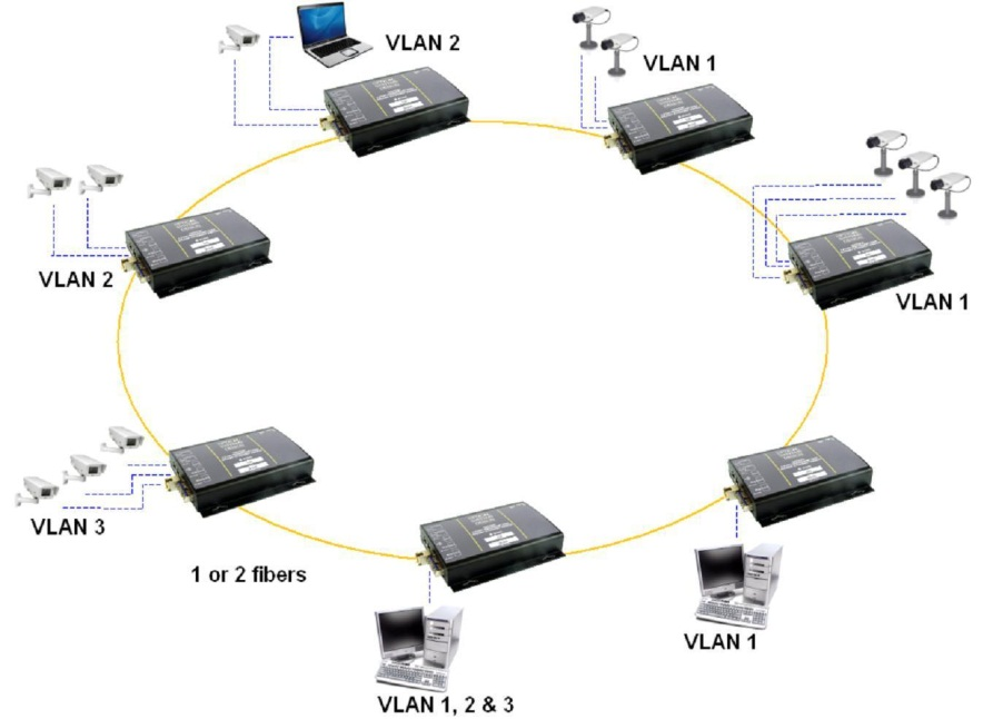 Figure 2  Typical Redundant Ring Gigabit Backbone Network
